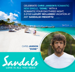 Chris Janson Sandals Resorts Flyaway prize ilustration
